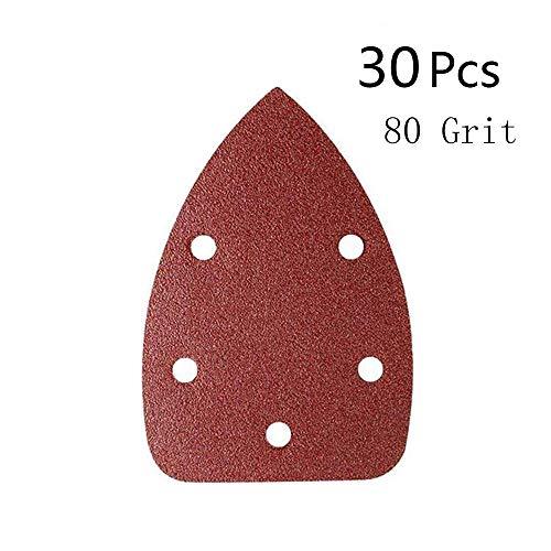 Man-Sun 80 Grit Mouse Detail Sander Sandpaper 5 Holes Sander Pads Hook and Loop Sanding Sheets Pack of 30