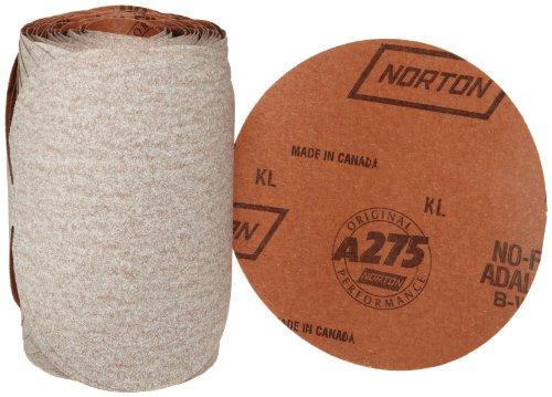 Norton A275 No-Fil Adalox Paper Abrasive Disc Fiber Backing Pressure-Sensitive Adhesive Aluminium Oxide 6 Diameter Grit 100 Roll of 100