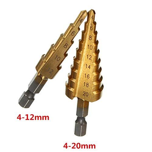 Nrthtri smt 4-124-20mm HSS Step Drill Bit High Speed Steel Pagoda Drill Bit Hole Cutter Possible Size  4-20mm