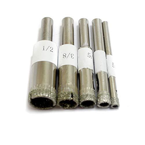 Oudtinx Diamond Grit Hole Saw Drill Bit Set 5 Piece  532 - ½Wet Cutting Ceramic Porcelain Tiles Glass Fish Tanks Marbleetc