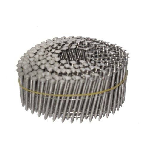 NailPro 1-34 Inch by 093 - 15 Degree Wire Coil - 316 Stainless Steel Marine Grade - Ring Shank Siding Nails 3600 pc  CTN