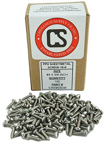 4 x 38 Stainless Phillips Pan Head Sheetmetal Screw 38 to 1-12 in Listing 100 Sheet Metal Screws 82 Degrees 4 x 38