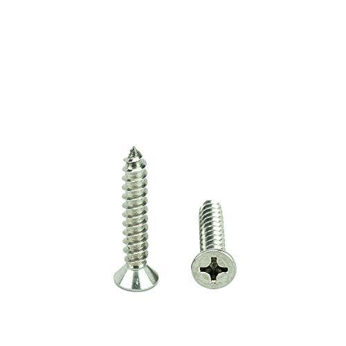 6 x 1-12 Flat Head Phillips Sheet Metal Screws Self Tapping18-8 Stainless Steel Full Thread Qty 100 by Bridge Fasteners