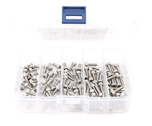 iExcell 100 Pcs M4 x 8mm10mm12mm14mm16mm Stainless Steel 304 Hex Socket Head Cap Screws Bolts Kit