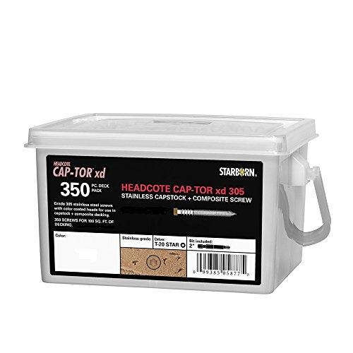 Headcote Cap-Tor 316 - 10 x 2-12 - 37 Gray- SALT WATER SAFE - 316 Stainless Steel Capstock Composite Deck Screws - 350 Pc Deck Pack