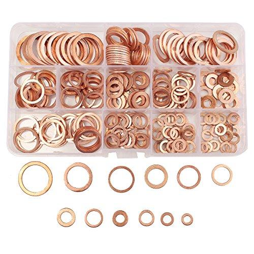 Baban 280 Pcs Flat Ring Copper Washer Assortment Flat Washers Kit 12 Size Types