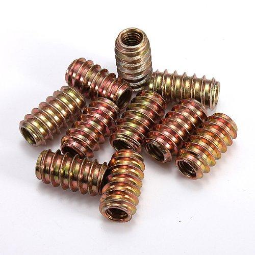 Water Wood 10pcs M8 E-Nut Wood Insert Nut Dowel Screw Fixing Furniture Legs and Bun Feet 8x12mm