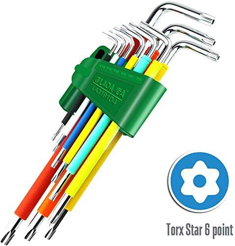 LAOA 9PCS Ball end L-Wrench Metric Torx set Long 9pcs colored Torx key set