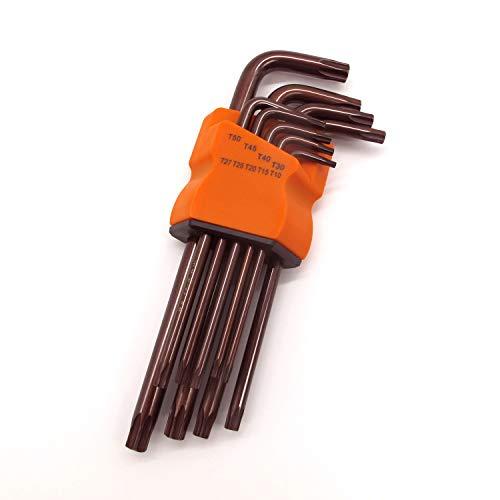 Torx Hex Key Wrench Set Short Arm Tamper Proof Star Screwdriver Torque Repair Tool Set with Organizer Case L-Shape T10 T15 T20 T25 T27 T30 T40 T45 T50 Made from S2 Alloy tool steel 9 PCS