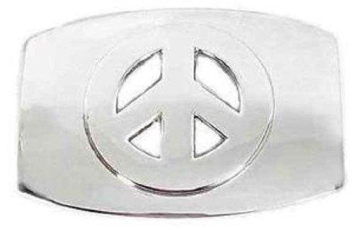 Chrome Peace Sign Belt Buckle For 15 Wide Belt Straps