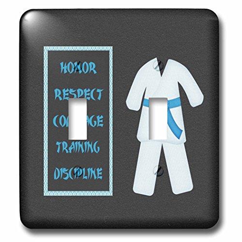 Beverly Turner Sports Design - Karate Karategi Uniform Blue Belt Honor Respect Courage Training Discipline - Light Switch Covers - double toggle switch lsp_180799_2