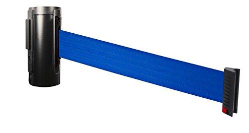 Visiontron WM100SB-BL Wall Mount Retractable Belt PRIME Barriers Smooth Black w10ft Blue Belt Standard Belt End
