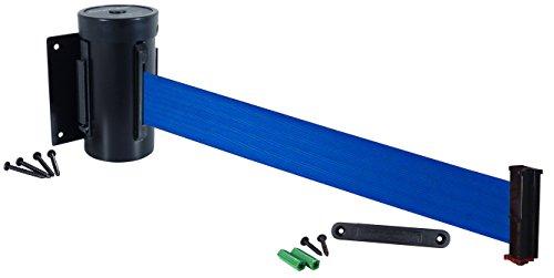 Visiontron WM700-auto-10SB-BL Retracta-Belt 10 Wall Mount Automatic Retracting Unit wStandard FixedRemovable Wall Plate - Black with Blue Belt Standard Belt End