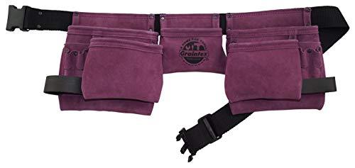 GRAINTEX DS2134 11 Pocket Work Apron Purple Color Suede Leather with 2 Webbing Belt 2 Hammer Holder Loops for Constructors Electricians Plumbers Handymen
