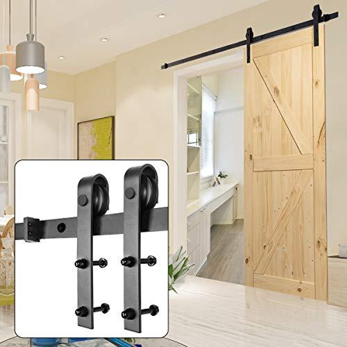 Homedex Sliding Barn Door Hardware Kit Black 66FT J Steel Set