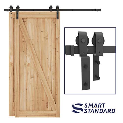 SMARTSTANDARD 66ft Bypass Sliding Barn Door Hardware Kit - Upgraded One-Piece Flat Track for Double Wooden Doors - SmoothlyQuietly - Easy to Install -Fit 36-40 Wide Door PanelJ Shape Hanger