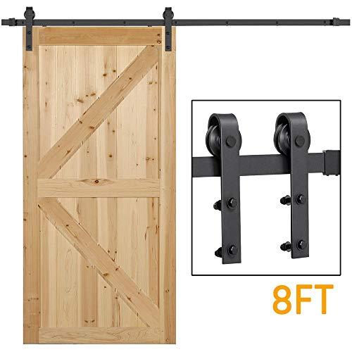 Yaheetech 8Ft Sliding Barn Door Hardware Kit Set Heavy Duty Sturdy Single Barn Door Track Antique Style Closet System Black