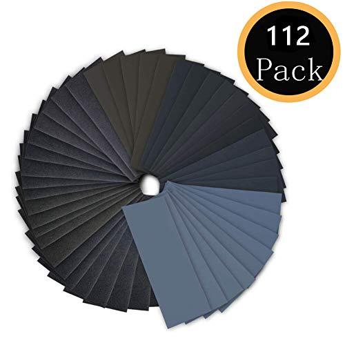 112PCS Sand Paper Variety Pack 14 Grits Assortment for Wood Metal Sanding Wet Dry Sandpaper 120150180240320400600800100012001500200025003000 Grit