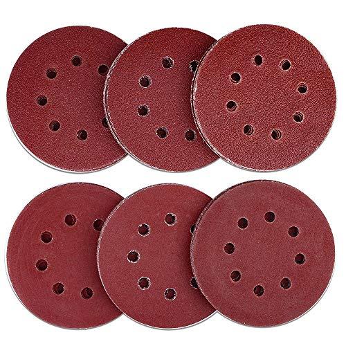 AUSTOR 60 Pieces 8 Holes Sanding Discs 5 Inch Hook and Loop 4060 80120 180240 Grit Sandpaper Assortment for Random Orbital Sander