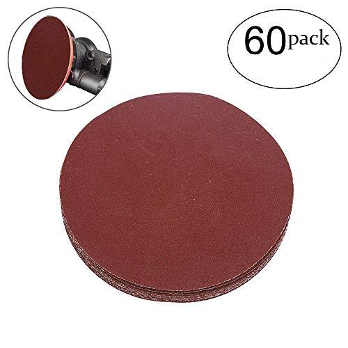 HIFROM 5 Inch Sanding Discs NO-Hole Hook and Loop 240 Grit Sandpaper Aluminum Oxide Random Orbital Sander Pads 60-Pack