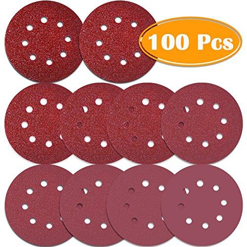 Paxcoo 100 Pcs 5 Inch 8 Holes Sanding Discs 4060 80100 120180 240320 400800 Grit Hook and Loop Sandpaper for Random Orbital Sander