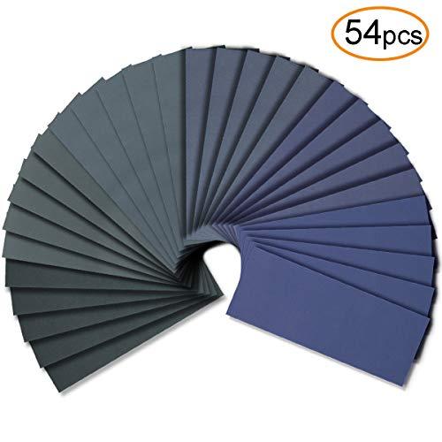 54pcs Wet Dry Sandpaper Assorted 300025002000150012001000 Grit for Automotive Sanding