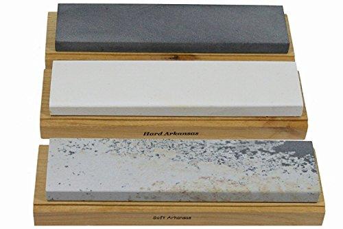 Arkansas Sharpening Stone Set - Wood Mounted 8