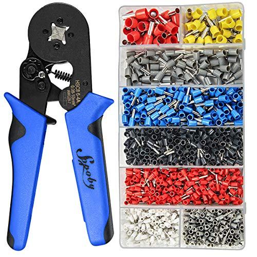 Ferrule Crimping Tool Kit - Sopoby Ferrule Crimper Plier AWG 28-7 008-10mm² w 1200pcs Wire Ferrules Crimp Wire Ends Terminals
