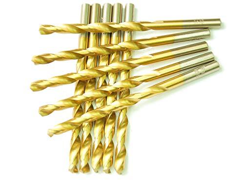 DRILLFORCE HSS Jobber Length 10 PCS14 x 4Titanium Coated Twist Drill Bits Metal drill ideal for drilling on mild steel copper Aluminum Zinc alloy etc Pack In Plastic Bag 14