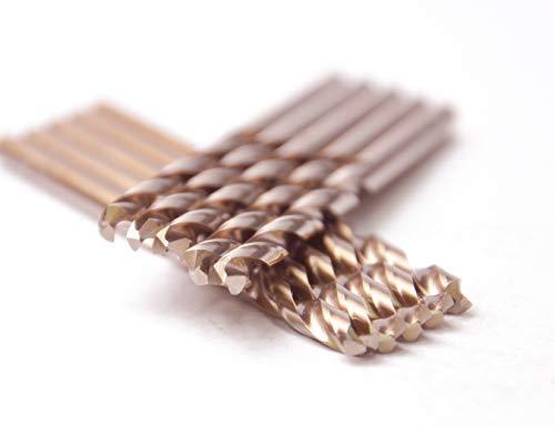 Max-Craft 14 Inch 10Pcs M35 HSS Cobalt Jobber Length HSS Co HSS E Twist Drill Bit135 Point Angle Split Point Drilling Steel Metal Iron Aluminium Copper Plastic