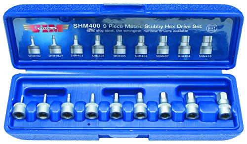 Vim Tools SHM400 Drive Metric Stubby Hex Bit Set 14-Inch  9-Piece