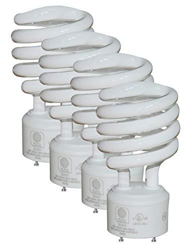 SleekLighting GU24 Base 23Watt UL Listed T2 Mini Twist Spiral Two Prong Twist CFL Light Bulb 2 Pin 6500K 1600lm - Super White Daylight 10000Hr Life- 4pack