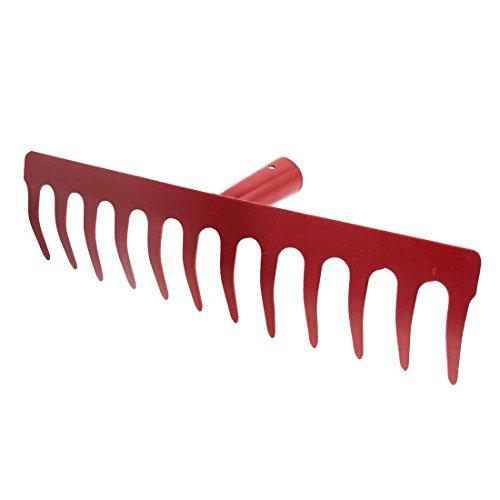 SODIALR Metal 12 Tine Hand Cultivator Rake Tool Head Red