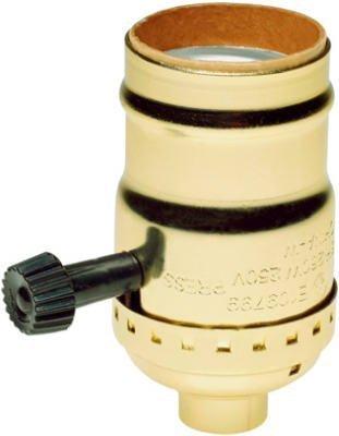 Brass Light Socket - Plated - 3-Terminal - 2 Circuit - Turn Knob - Medium Base Socket - 18 IPS - PLT 90-421