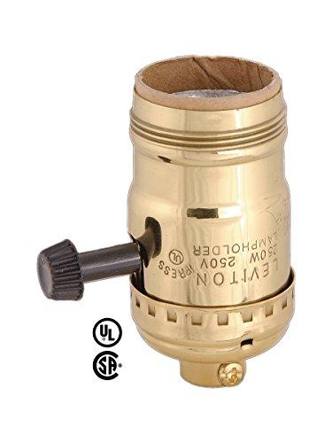 Leviton Brite Gilt Uno Thread Shell Cap 1316 Mandrel Turn-Knob Socket For 3-Way Bulbs