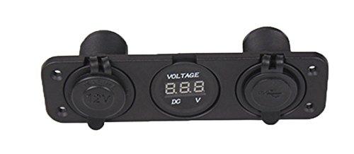 zowaysoon PJH-RS-0377 Car Digital Voltmeter Dual USB  2 Port Power Socket Three Hole Panel Black