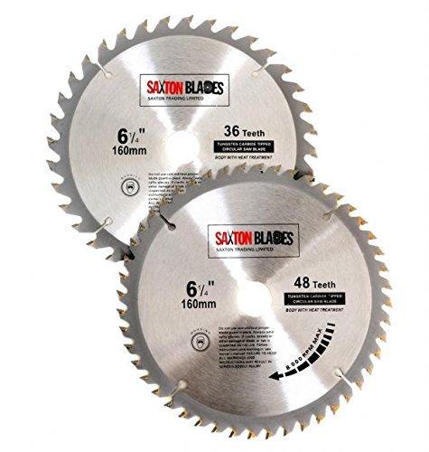 2x Saxton TCT Circular Wood Saw Blades 160mm x 20mm for Festool TS55 Bosch Makita Pack A Fits 165mm Saws by Saxton