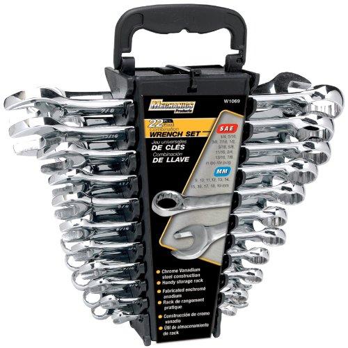 Performance Tool W1069 22-Piece SAEMetric Polished Combo Wrench Set