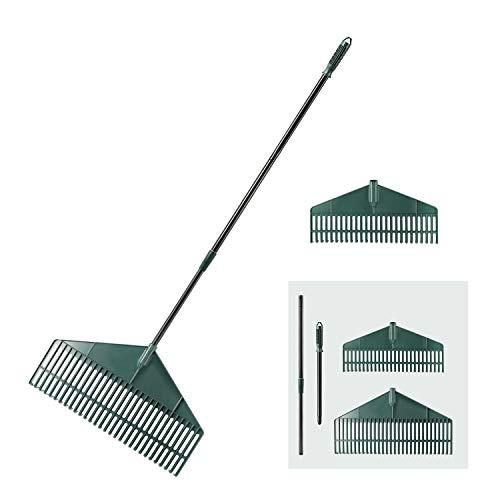 ORIENTOOLS Garden Leaf Rake with 2 Plastic Head 30T&26T Adjustable Black Steel Handle Landscape Rake 30T Rake from 55 to 69 inches 26T rake from 43 to 59 inches