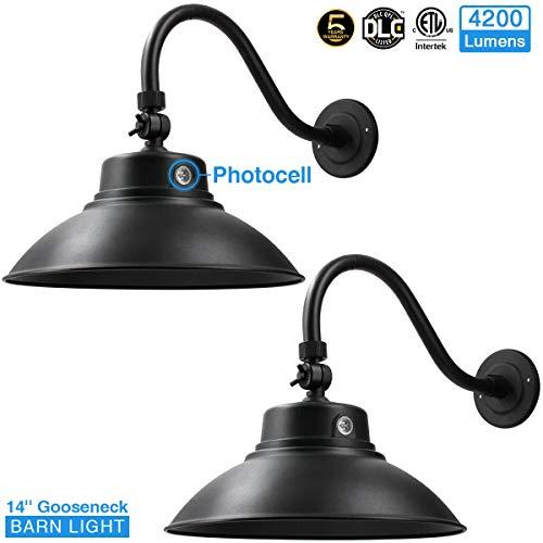 14in Black LED Gooseneck Barn Light 42W 4200lm Warmlight LED Fixture for IndoorOutdoor Use - Photocell Included - Swivel HeadEnergy Star Rated - ETL Listed - Sign Lighting - 3000K Warmlight 2pk02