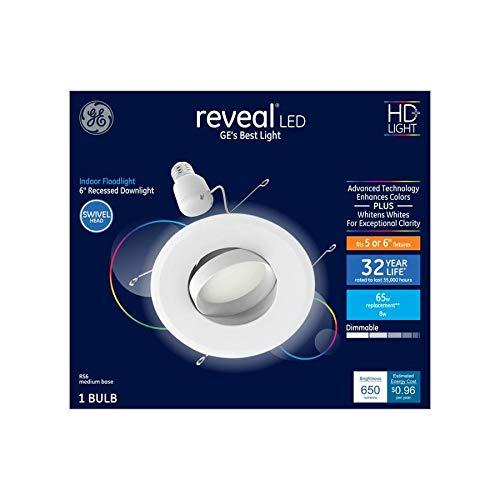 GE Reveal HD LED 65-Watt Replacement 6-Inch Diameter Recessed 47858 Downlight Indoor Floodlight Swivel Head