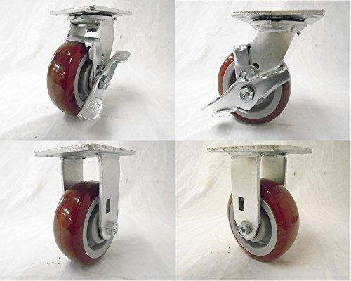5 X 2 Swivel Caster w Brake 2 Polyurethane Wheel Rigid 2 600 Lbs Each Tool Box