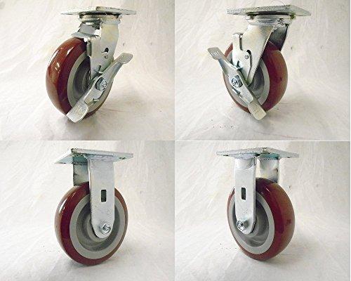 6 X 2 Swivel Caster w Brake Polyurethane Wheel 2 Rigid 2 720 Lbs Each Tool Box