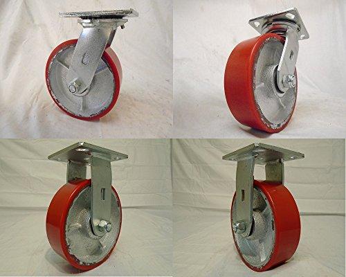6 X 2 Swivel Casters Heavy Duty Polyurethane Wheel Steel Hub 2 and Rigid 2 1200lb Each