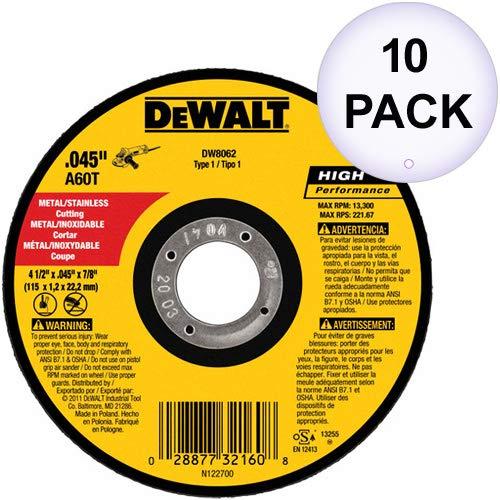 DeWalt DW8062 4-12x045x78 Metal Angle Grinder Thin Cutoff Wheel 10 Pack