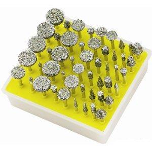 50 Diamond Burs w Mandrels Tool Bits for Dremel NIB