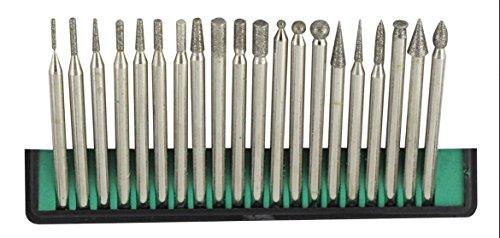 Generic 20 Piece Diamond Bur Set for Rotary Tool - Glass Stone Ceramic