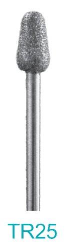 TR25 - 600 Grit Diamond Bur - 332 Shank Made In USA - Rounded Taper - Approximately 3mm diameter tip 5mm diameter base x 9mm head length