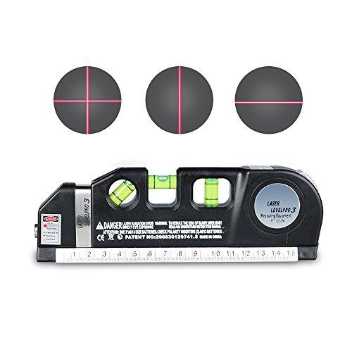Laser Tape RulersCarBoss Multipurpose Laser Level laser measure Line 8 FT25M Measure Tape Ruler Adjusted Standard and Metric Rulers Tools -Best Professional Craftsman Self Leveling Laser leveler