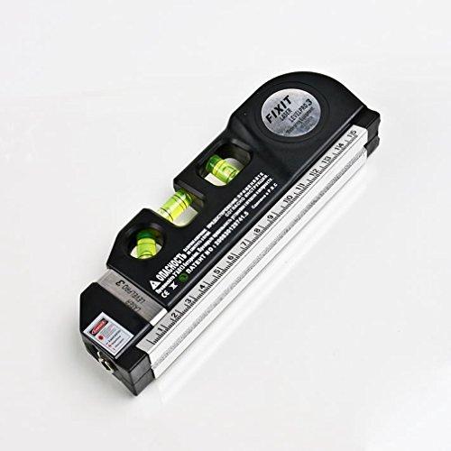 Level LaserYKS Laser Level Horizon Vertical Measure 8FT Aligner Standard and Metric Ruler Multipurpose Measure Level Laser Black